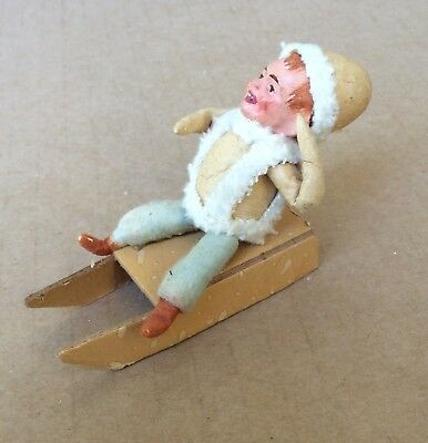 Antique Christmas German Putz Cotton Child Boy Sled Fig