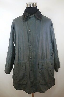 C8203 VTG Men's BARBOUR BORDER Snap-Button Oil Waxed Jacket Size 117CM/46IN