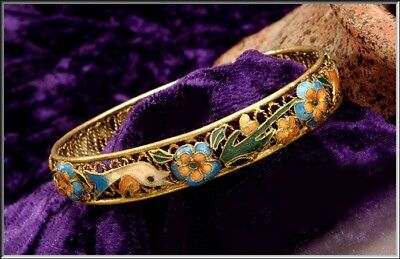 Antique Chinese Export Gold Gilt Silver Openwork Filigree Enamel Bangle Bracelet