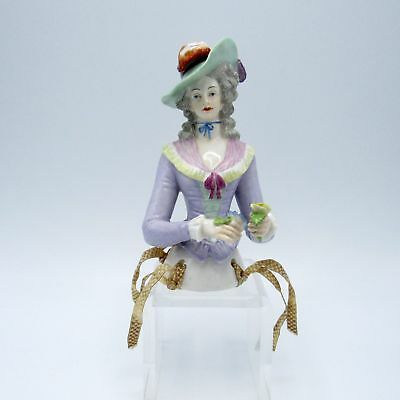 Antique Half Doll Wearing Large Hat, Blue Ribbon at Neck, Holding Flowers, NR