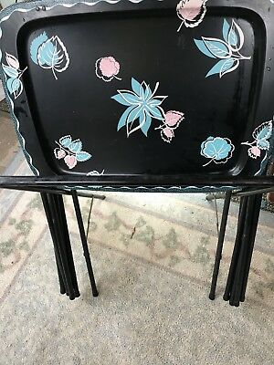 Vintage Retro Metal Folding TV Serving Trays Tables w/ Rack Black Teal Cal-Dak