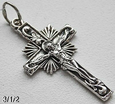 RUSSIAN GREEK ORTHODOX CROSS charm STERLING SILVER CRUCIFIX 925 sample Antique