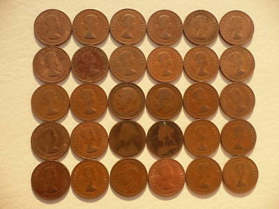 Lot of 30 Large One Penny Coins of England - Great Britain - mix of reigns