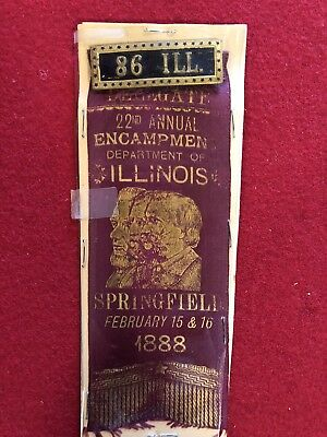 Civil War 86th Regiment 1888 Encampment Reunion Ribbon