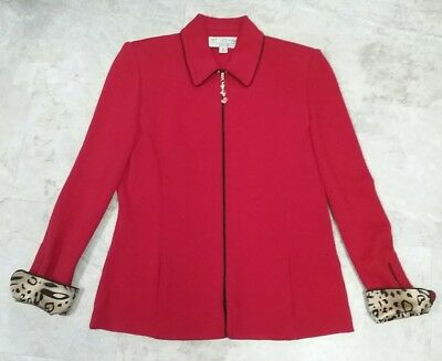 St. John Collection By Marie Gray Red Santana Knit Zip Jacket W/animal Design 10