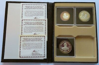 1980 Turks and Caicos Islands 5/10/20 Crown Proof Silver Coins COA case (142150B