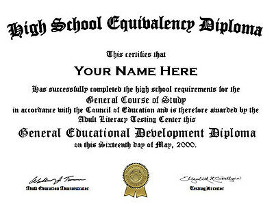 Official Looking Customized High School Graduation GED Diploma (Fake)