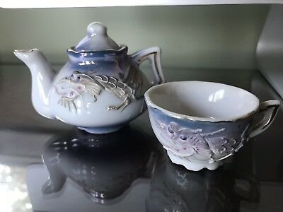 Vintage Dragon Ware Teapot And Teacup Miniature Hand Painted Moriage