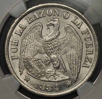 1884-So NGC MS65 CHILE PESO