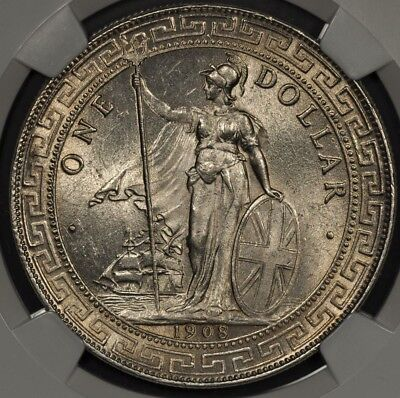 1908-B Ngc Ms64 Great Britain Trade Dollar T$1