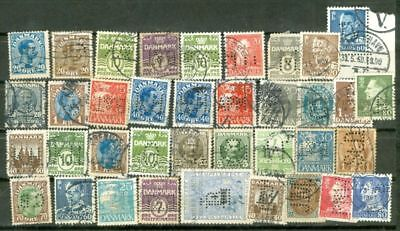 Denmark Group of 35 PERFIN stamp used Lot#6089   gtc