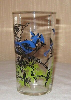 Vintage Blue Jay Tumbler Peanut Butter or Jelly Glass Bird