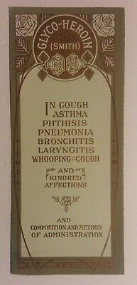 1900-1920 GLYCO-HEROIN Smith Advertisement for Cough Asthma Pneumonia Brochure