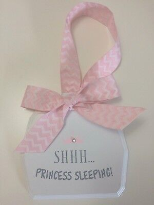 "Baby Girl's Room Decorative Wall Plaque ""Shhh Princess Sleeping"" Quote Pink"