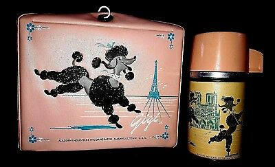 RARE! 1962 Aladdin Pink Lunchbox with Thermos GIGI The Poodle In Paris
