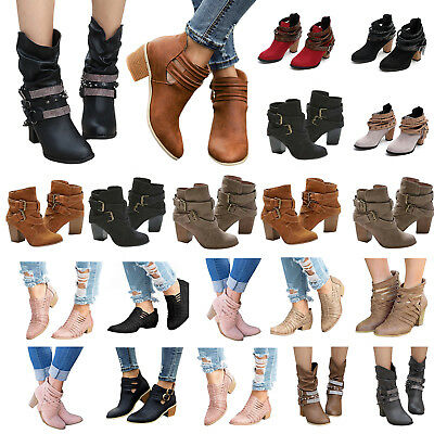 Womens Mid Heels Booties Ankle Boots Zipper Winter Low Shoes Wedge Size Pumps 6