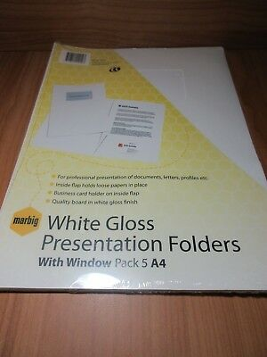 10 x Marbig A4 White Professional Series Gloss Presentation Folder with window
