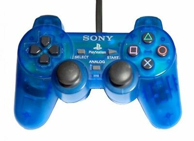 Official Sony Playstation 1 PS1 PsOne Controller Clear Blue Dualshock TESTED