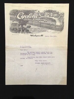 1915 Used Letterhead Cyclone Fence Co Chicago Il Illus Home W/fence