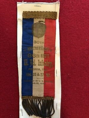 1892 Civil War 86th Regiment Illinois Encampment Ribbon