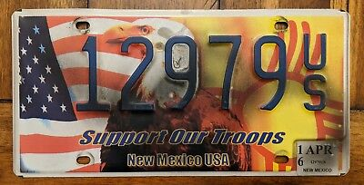 New Mexico SUPPORT OUR TROOPS License Plate # 12979 US. Military Eagle