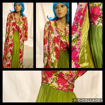 Lot Of 2 Vintage Gale Mitchell Dress Gown & Matching Floral Maxi Coat-Sz. 2