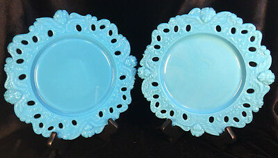 Antique Dithridge Blue Turquoise Milk Glass Plate with Cherubs/ Angel heads.