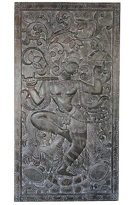Vintage Door Panel Krishna CONSCIOUS SCULPTURE Indian Carved Wood CLEARANCE SALE