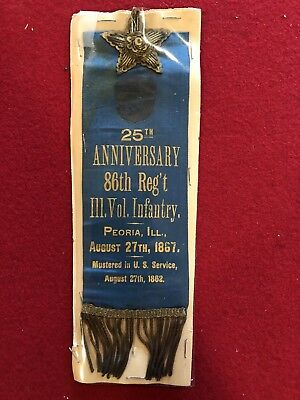 Civil War 86th Regiment 1887 Reunion Ribbon