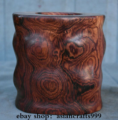 """6.4"""" Old Chinese Dynasty Huanghuali Wood Carved Many Eyes Brush Pot Pencil Vase"""