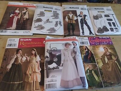 Historical Costume Patterns Lot for Adults  many uncut