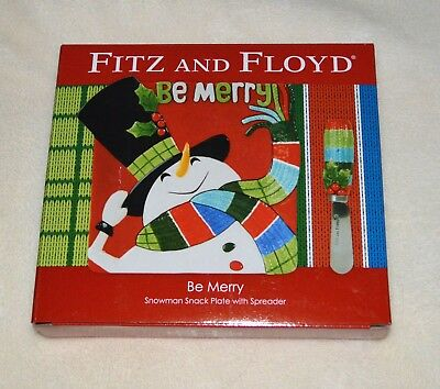 """Fitz & Floyd """"Be Merry"""" Snowman Snack Plate with Spreader Set. NIB"""