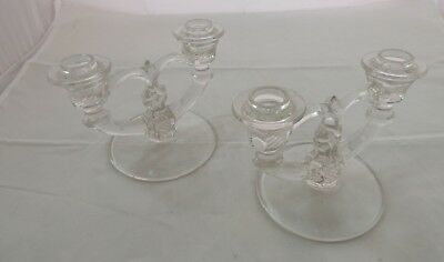 Set of 2 INDIANA GLASS  DOUBLE CANDLESTICK  Candle Holder Etched Base