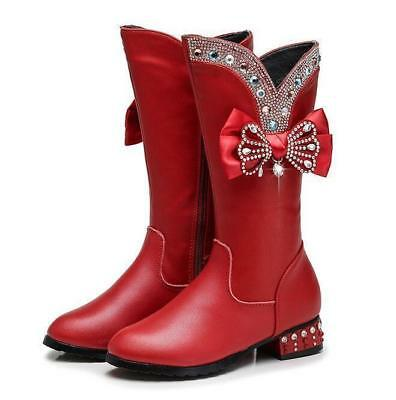 Kids Girls Knee High Boots Rhinestones Chic Bowknot Sweet Casual Shoes Princess