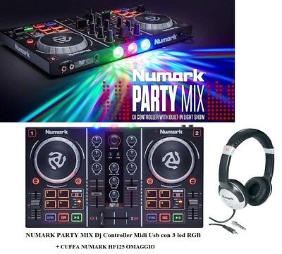 NUMARK PARTY MIX Dj Controller Midi Usb con 3 LUCI LED RGB + virtual DJ + CUFFIA