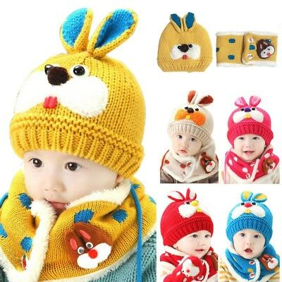 Baby Kids Boys Girls Rabbit Knitted Hat Cap Winter Warm Hat+Neck Scarf 2pcs/set