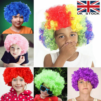 80s CURLY AFRO WIG MULTI COLOUR PARTY CLOWN FUNKY DISCO KIDS CHILDREN COSPLAY UK