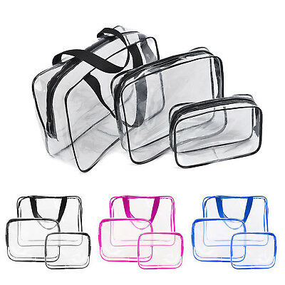 3 PCS Cosmetic Makeup Toiletry Clear PVC Organizer Travel Wash Bag Holder Set AU