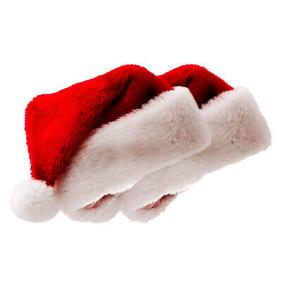 lot Kids/& Adults Soft Plush Ultra Thick Santa Claus Christmas Cap Hat Red