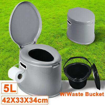 Portable Camping Travel Toilet Outdoor Caravan Boating Easy Carry Potty Lid Camp