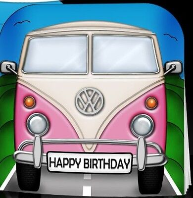 eb768aa3c1 Handmade Toppers or Personalised Card. choice of sizes VW CAMPER VAN Retro  PINK