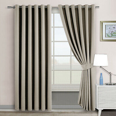 2X Blackout Blockout Eyelet Curtains Panels Thermal Insulate 3 Layer Pure Fabric