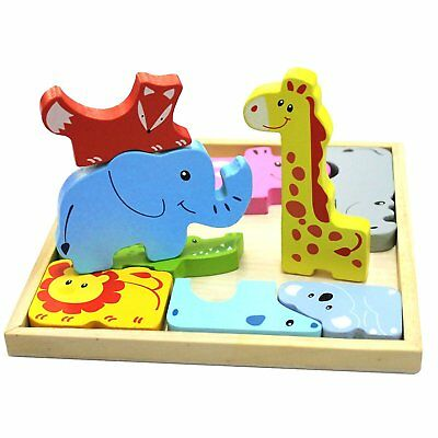 Wooden 3D Anime Cartoon Animal Jigsaw Puzzle Zoo Play Set Toy Gift Education