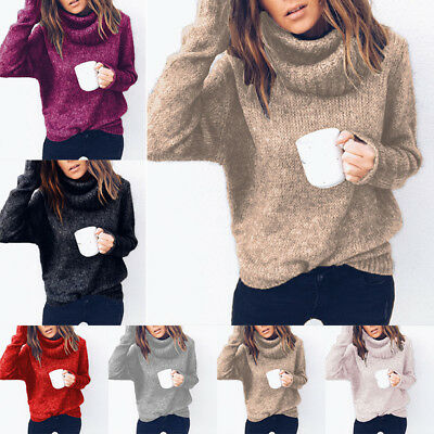 Womens Long Sleeve Round Neck Loose Knitted Sweater Ladies Casual Jumper Blouse