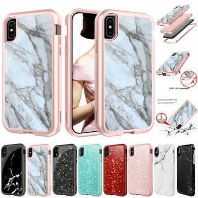 iPhone XS Max XR X 7 8 Plus Shockproof Marble Glitter Hard Case Heavy Duty Cover