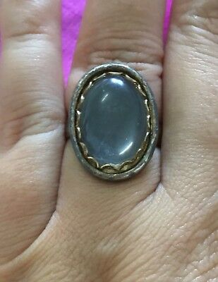 Vintage Antique Silver 1970s Clear Glass Adjustable Size Ring Estate Find Vtg