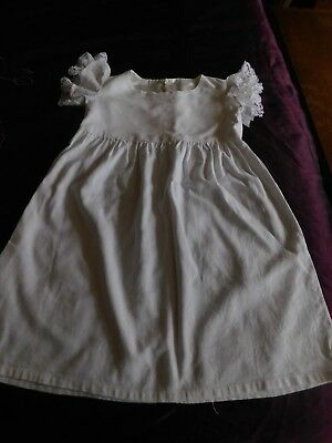 Vintage children's little dress /christening gown handmade in white with lace