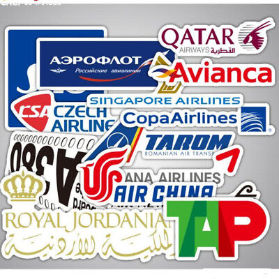 55PCS Airline Logo Stickers Scrapbook World Tourist Luggage Skateboard Car Decal