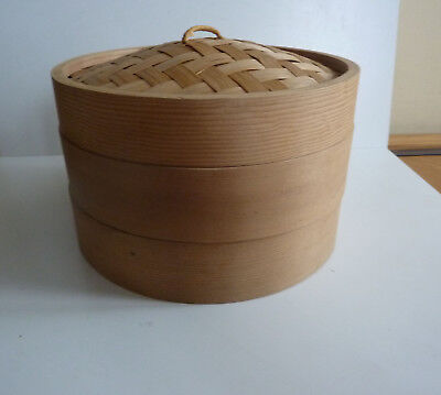 """Bamboo Rice Steamer Bowl 8.25"""""""" Chinese Dim Sum Kitchen 2 Pots with Lid"""