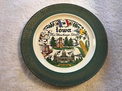 Iowa Homer Laughlin Souvenir 10 inch Plate of Hawkeye State Excellent Condition
